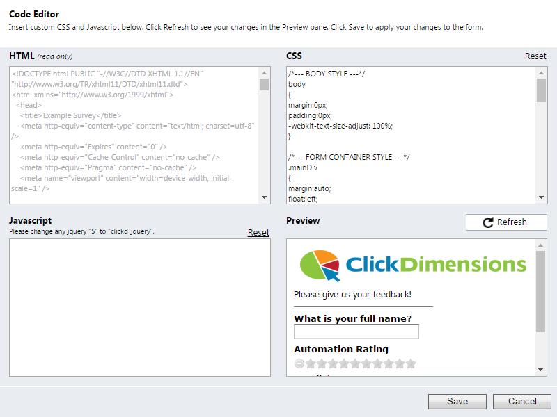 create a clickdimensions survey clickdimensions support