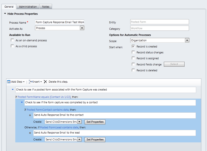 form capture auto response workflow