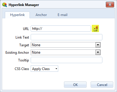Hyperlink Manager - Document Manager Button