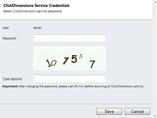 Service Credentials Window
