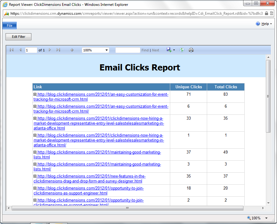 Links in Click Report
