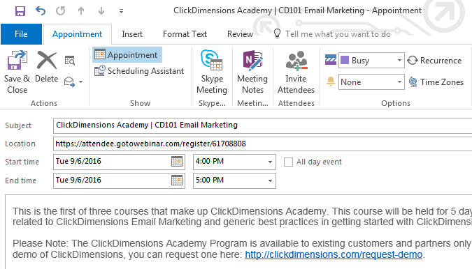 Add an Outlook Calendar Event to an Email Template ClickDimensions