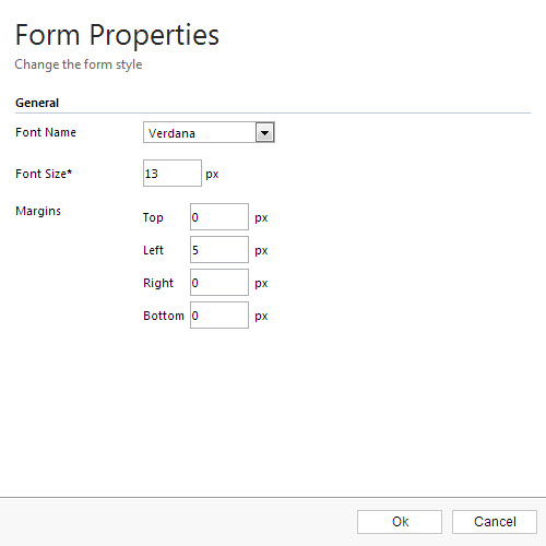 Form Properties window