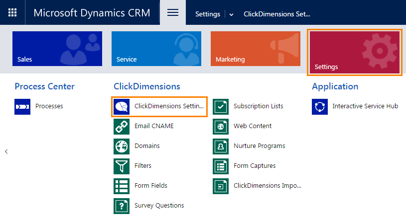 2016 ClickDimensions Settings Navigation