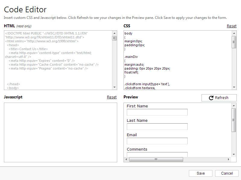 Web Content Code Editor – ClickDimensions Support