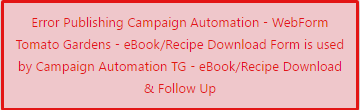 campaign automation form error popup