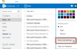 outlook.com more mail settings