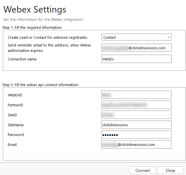Set Up WebEx Integration – ClickDimensions Support