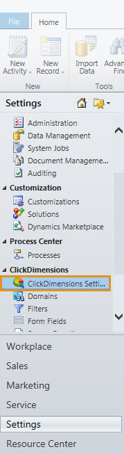 ClickDimensions Settings 2011
