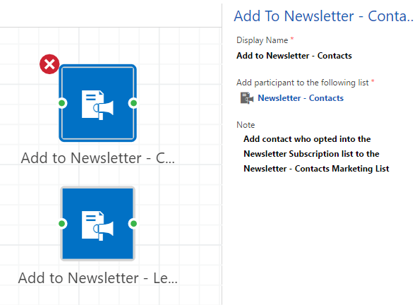newsletter action settings