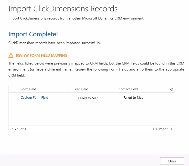 form field import mapping error