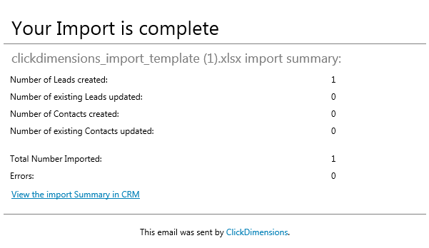2016 Import Tool Complete Email