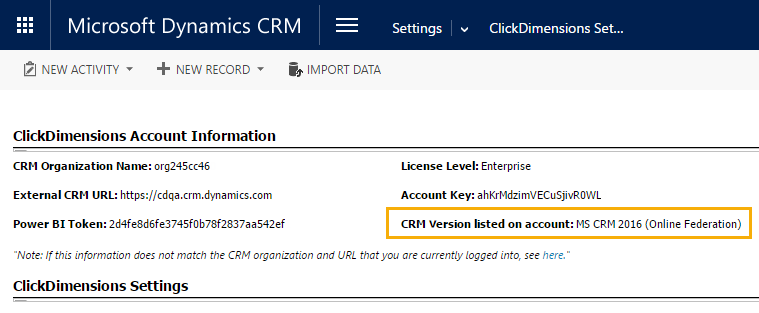 Clickdimensions Settings crm version