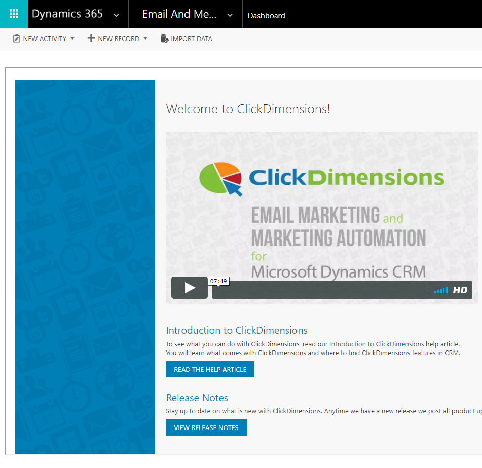 ClickDimensions for Dynamics 365 – ClickDimensions Support