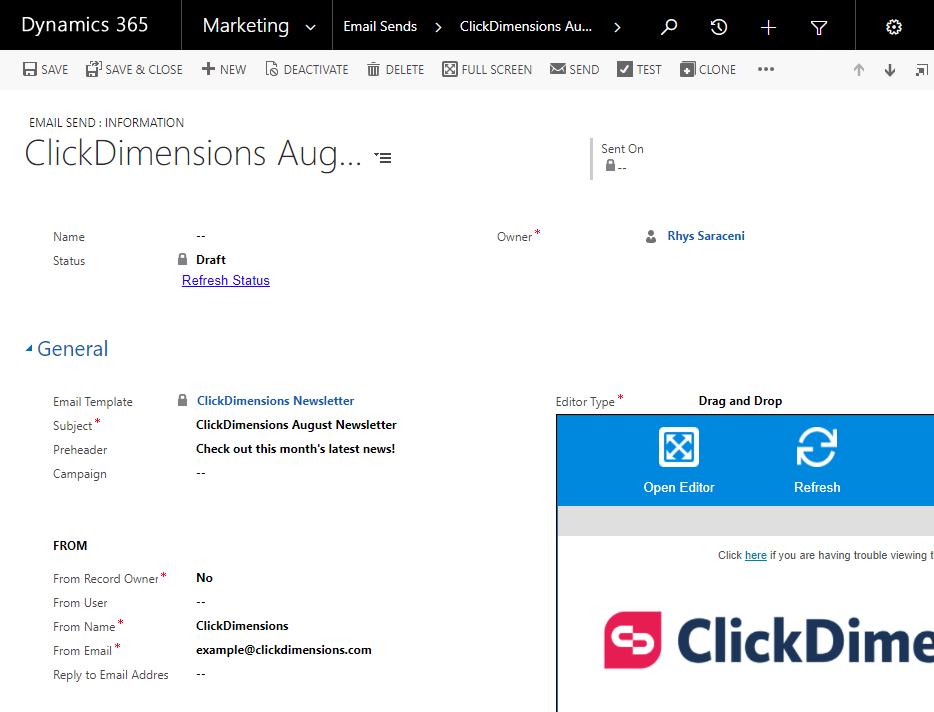 edit a template in an email send clickdimensions support