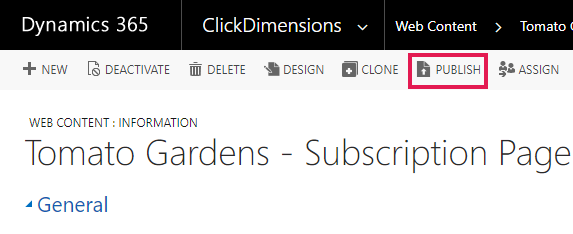 Publishing Web Content – ClickDimensions Support