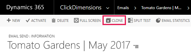 Clone an Email Send Record – ClickDimensions Support