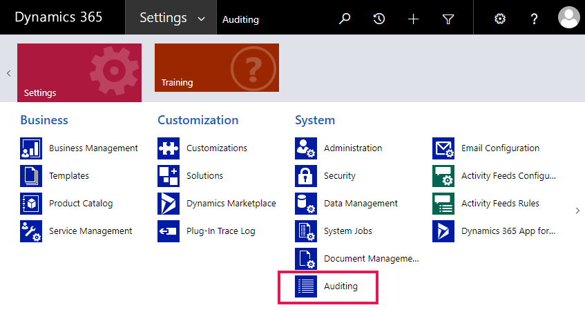 Enabling Auditing for Entities in Microsoft Dynamics CRM