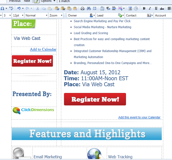 Add An Outlook Calendar Event To An Email Template ClickDimensions - Email template management system